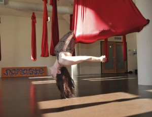 hanging out in the aerial yoga studio :)